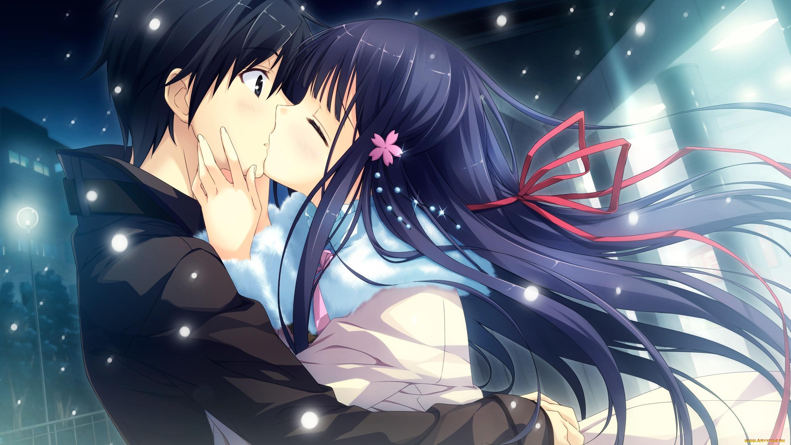 Картинки девушка целует парня аниме
